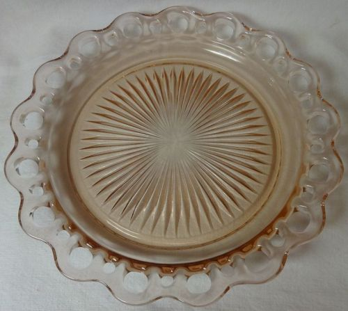 "Old Colony Pink Dinner Plate 10.5"" Hocking Glass Company"