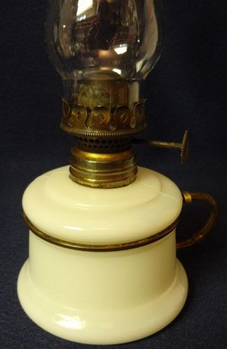 "Nutmeg Milkglass & Chimney 3.75"" Miniature Oil Lamp"