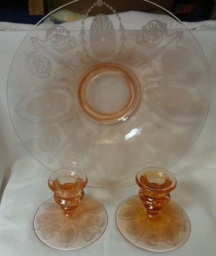 "E732 Pink Bowl 12.75"" & Pair Candleholders 3 3/8"" Cambridge Glass"