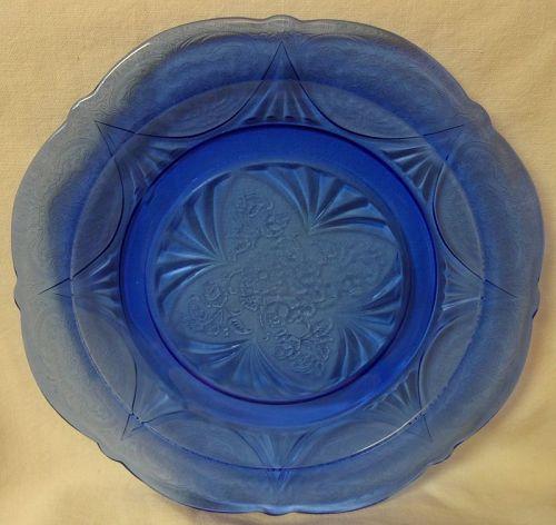 "Royal Lace Cobalt Dinner Plate 9 7/8"" Hazel Atlas Glass Company"