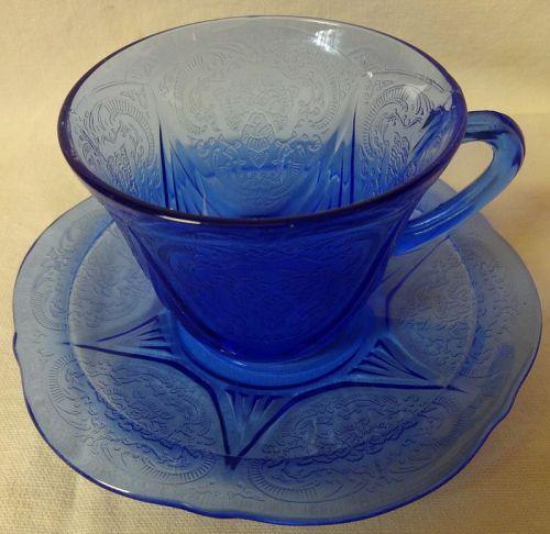 Royal Lace Cobalt Cup and Saucer Hazel Atlas Glass Company