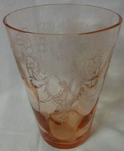 "Morgan Pink Flip Vase 8"" Central Glass Company"