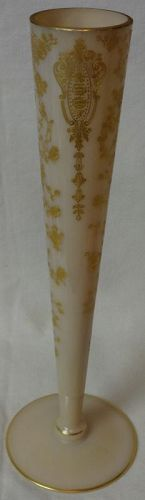 "Rose Point Crown Tuscan Bud Vase 10.25"" Gold Encrusted Cambridge Glass"