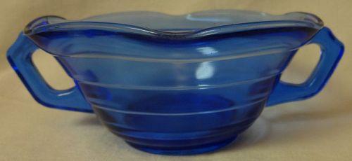 Moderntone Cobalt Ruffled Creamsoup Hazel Atlas Glass Company
