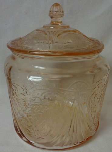Royal Lace Pink Cookie Jar & Lid Hazel Atlas Glass Company