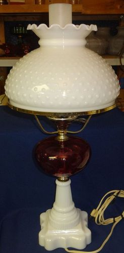 "Electric Cranberry Lamp 23"" with Hobnail Milkglass Shade 10"""