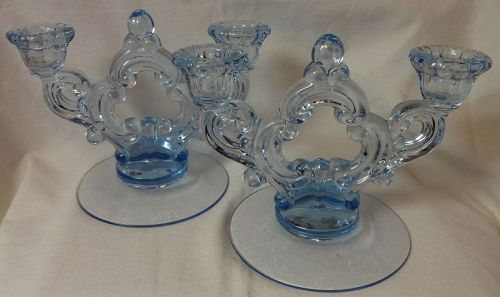 Keyhole 2 Light Candleholder Pair Moonlight Blue Cambridge Glass
