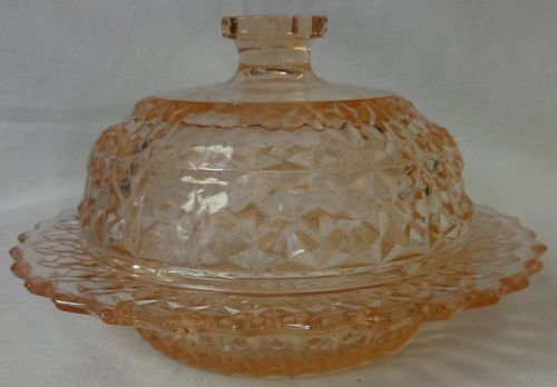 Holiday Pink Butter & Lid Jeannette Glass Company