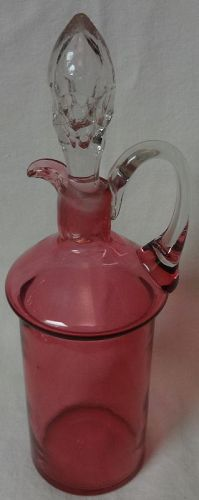 "Cruet & Stopper 9"" Cranberry Flashed"