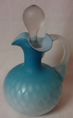 "Diamond Optic Cruet 6.25"" Blue Satin"