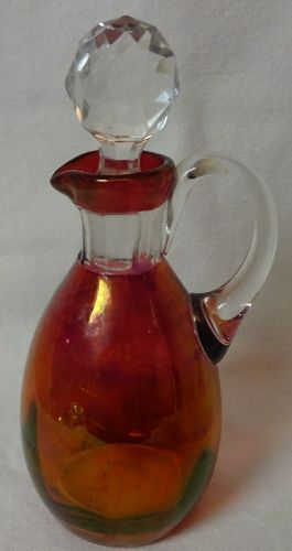 "Cruet & Stopper 6"" Cranberry Flashed"