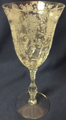 "Rose Point Crystal Goblet 3121 10 oz 8.25"" Cambridge Glass Company"