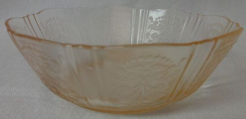 "American Sweetheart Pink Berry Bowl 3.75"" Mac Beth Evans Glass Company"