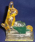 "Rabbit with Wheel Barrow Painted with Back 4"" Candy Container"