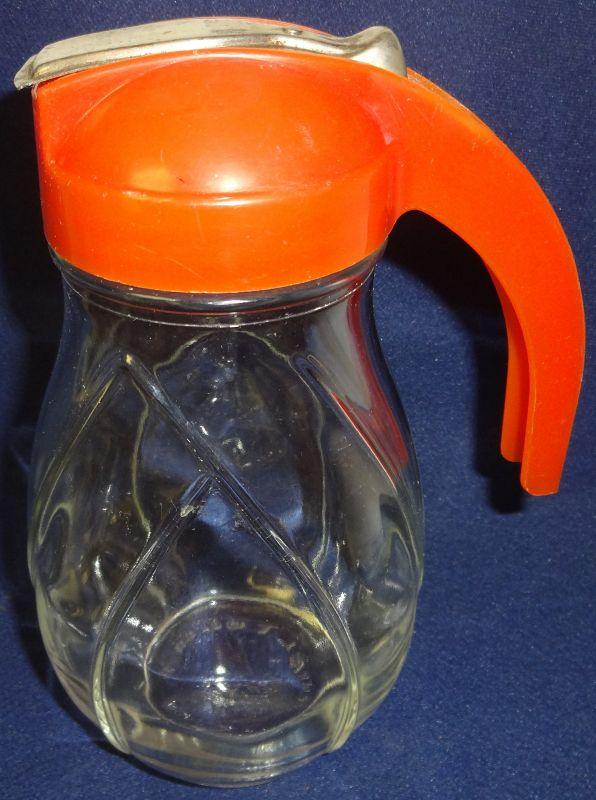 "Overlapping Leaves Syrup 8"" Orange Top Hazel Atlas Glass"