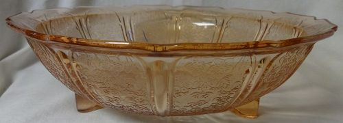 """Cherry Blossom Pink Bowl 10.5"""" 3 Footed Jeannette Glass Company"""