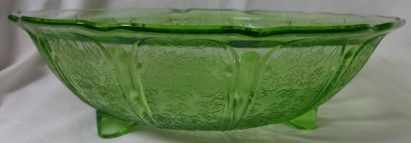 """Cherry Blossom Green Bowl 10.5"""" 3 Footed Jeannette Glass Company"""