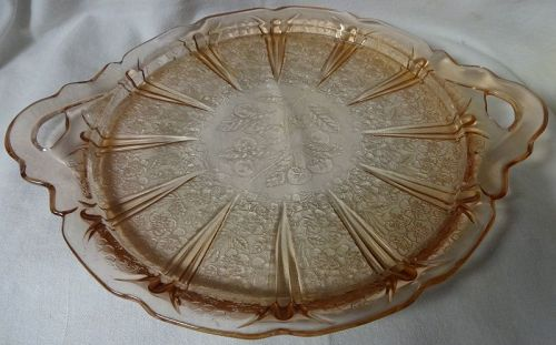 "Cherry Blossom Pink 2 Handled Tray 10.5"" Jeannette Glass Company"