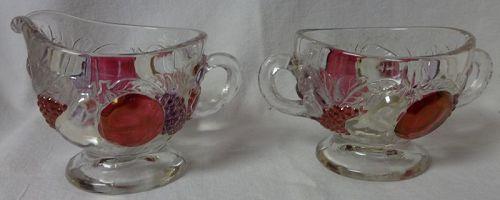 Della Robbia Red Stained Creamer & Sugar Westmoreland Glass Company