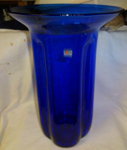 """Ribbed Vase 13.5"""" Blue Flared Rim Blenco Glass"""