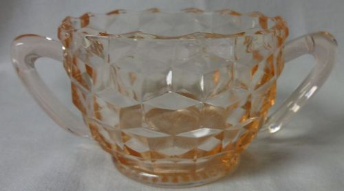 """Cube Pink Sugar 3"""" Jeannette Glass Company"""