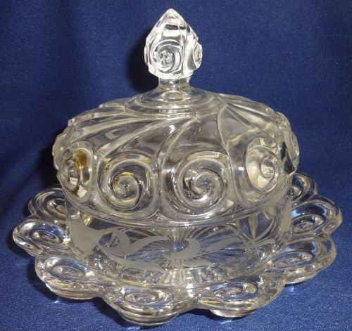 "Snail Etched Crystal Butter & Lid 8"" Duncan Miller Glass Company"