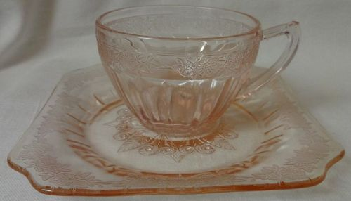Adam Pink Cup & Saucer Jeannette Glass Company