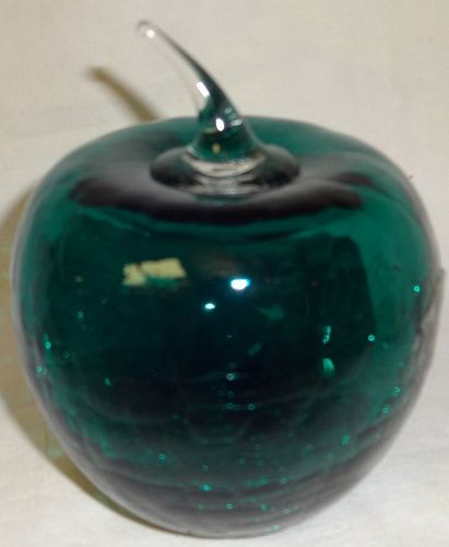 "Crackle Apple 4.25"" Blue Blenko Glass"