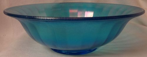 Blue Stretch Glass Bowl 9.75""