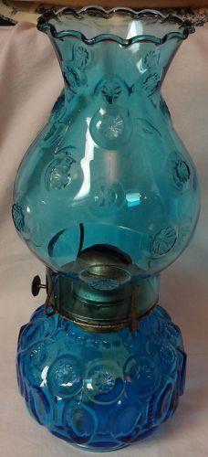"""Moon & Star Blue Oil Lamp 12"""" Bulbous L E Smith"""