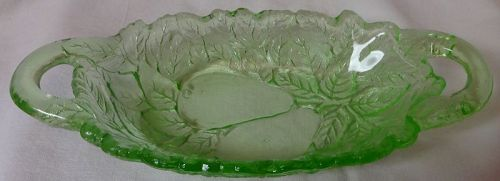 "Avocado Green 2 Handled Oval Bowl 8"" Indiana Glass Company"