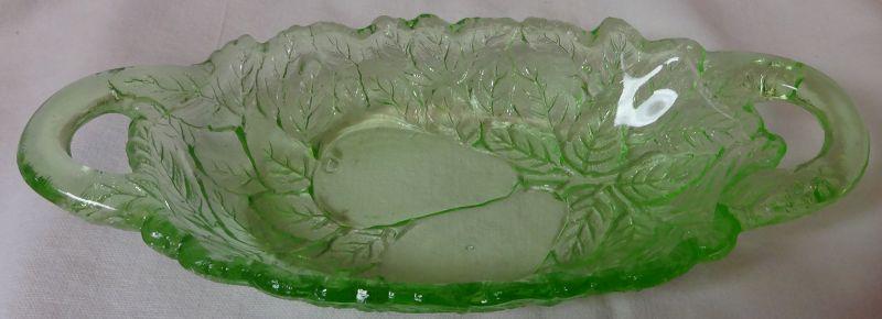 "Avocado Green 2 Handled Oval Bowl 8"" Indiana Glass Company"
