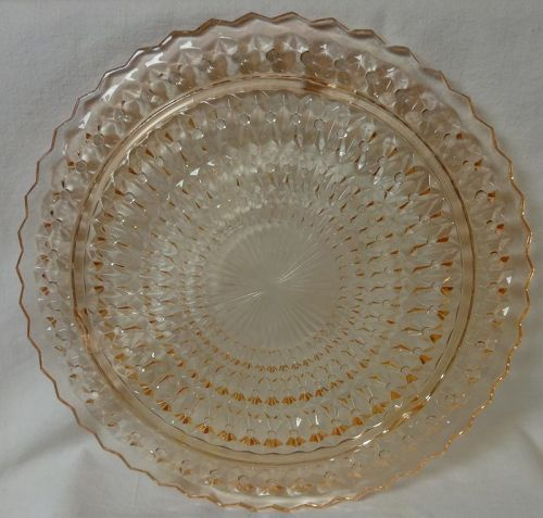 "Holiday Pink Cake Plate 3 Legged 10.5"" Jeannette Glass Company"