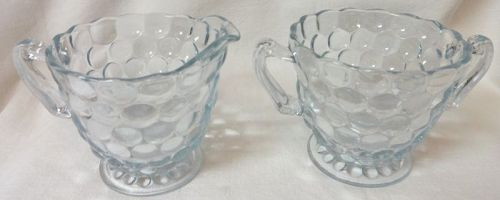 Bubble Sapphire Blue Creamer & Sugar Fire King Anchor Hocking Glass