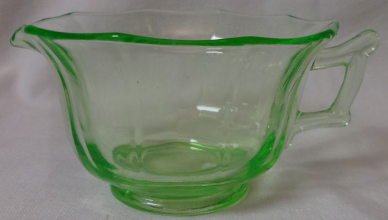 Decagon Green Creamer Cambridge Glass Company