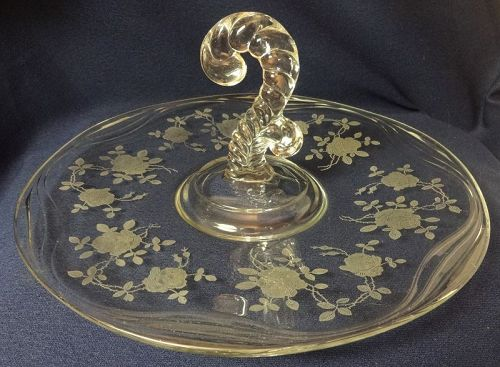 "Willowmere Crystal Lunch Tray 11.50"" Fostoria Glass Company"