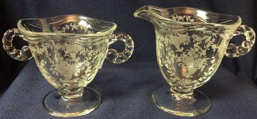Mayflower Crystal Creamer & Sugar Fostoria Glass Company