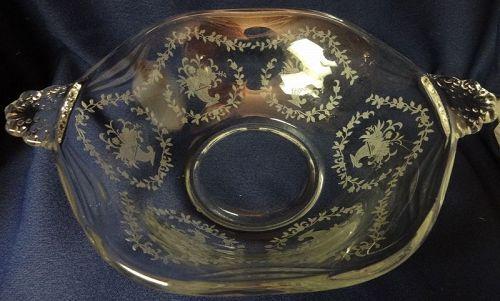 "Mayflower Crystal Bowl 2 Handled 8.5"" Fostoria Glass Company"