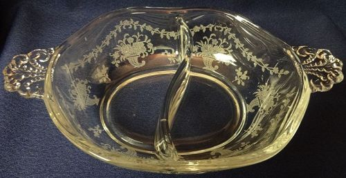 "Mayflower Crystal Relish 2 part 6.5"" Fostoria Glass Company"