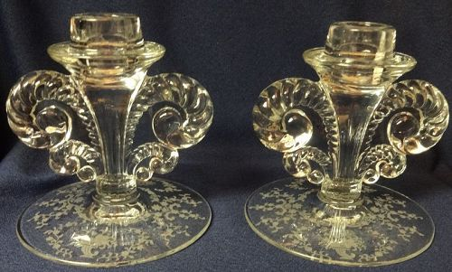 "Mayflower Crystal Candlestick Pair 4.5"" Fostoria Glass Company"