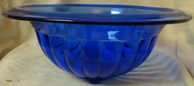 "Mixing Bowl 9.75"" Cobalt Hazel Atlas Glass Company"