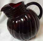 "Swirl Royal Ruby Tilt Jug 8"" 3 Quart Anchor Hocking Glass Fire King"