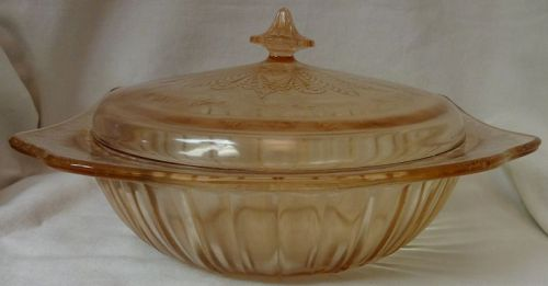 "Adam Pink Bowl & Cover 9"" Jeannette Glass Company"