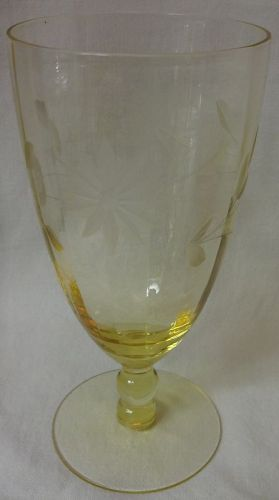 "Jubilee Yellow Water Tumbler 6"" 10 oz Lancaster Glass Company"