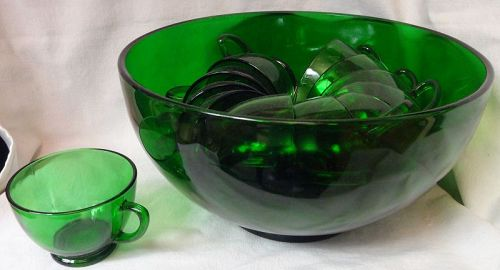 "Forest Green Punch Bowl 10"" & 12 Cups Anchor Hocking Glass Company"