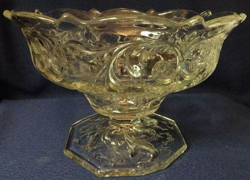 "Rock Crystal Comport 7"" Scalloped Edge Footed McKee Glass Company"