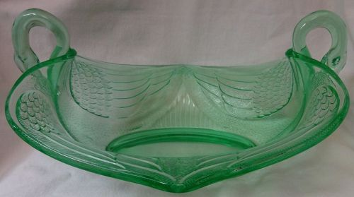 "Swan Green Bowl 11"" 2 Handled Fenton Art Glass"