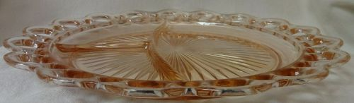 "Old Colony Pink Grill Plate 10.5"" Hocking Glass Company"