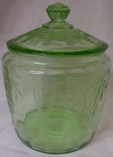 Cameo Green Cookie Jar & Lid Hocking Glass Company