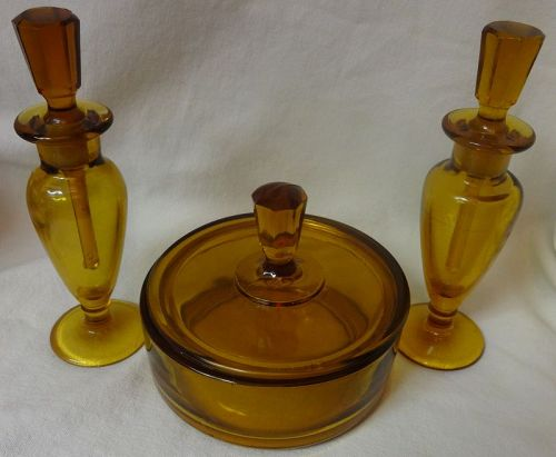 "Amber Puff box 4.5"" & 2 Perfumes 6"" Viking Art Glass Mirror Images"